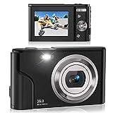 Digital Camera, Lecran FHD 1080P 36.0 Mega Pixels Vlogging Camera with 16X Digital Zoom, LCD Screen, Compact Portable Mini Cameras for Students, Teens, Kids (Black)