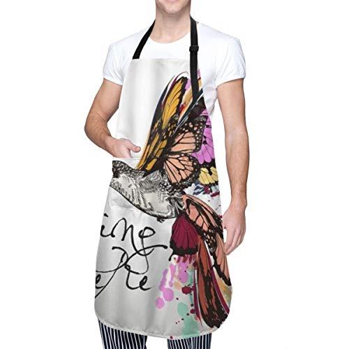 COFEIYISI Delantal de Cocina Colibrí Con Primavera Está Aquí Coloridas Alas De Mariposa Moda Animal Delantal Chefs Cocina para Cocinar/Hornear