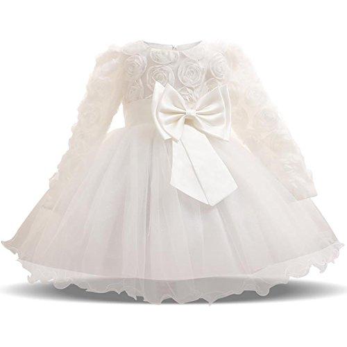 TTYAOVO Vestiti dal Tutu del Partito di Compleanno della Principessa del Fiore del Pizzo 3D delle Maniche Lunghe delle Neonate 0-6 Mesi Bianca