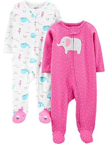 Simple Joys by Carter's 2er-Packung mit Fuß Zum Schlafen und Spielen Infant-and-Toddler-Bodysuit-Footies, Rosa Elefanten/Wale, 0-3 Months