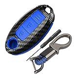 Happyit ABS Fibra de Carbon Cáscara + Silicona Funda para Llave de Coche Llavero para Nissan 350Z Qashqai J10 J11 X-Trail t31 t32 Patadas Tiida Pathfinder Murano Note Juke 3 Botones (Azul)