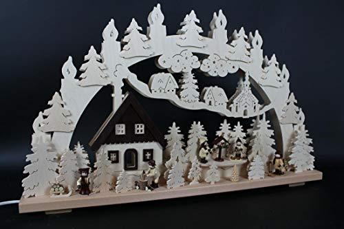 Verlichte zwemboog met winterfiguren en vogelhuisjes grootte = 70x43cm NIEUW Ertsgebergte lichtboog lichtboog