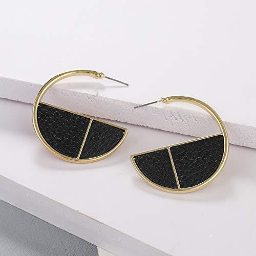 MoHHoM Earrings Women,Vinatge Round Leather C Shape Earrings Trendy Hook Pendants Earrings Unique Earrings Charm Fashion Drop Dangle Earrings Jewelry For Women Ladies,Black