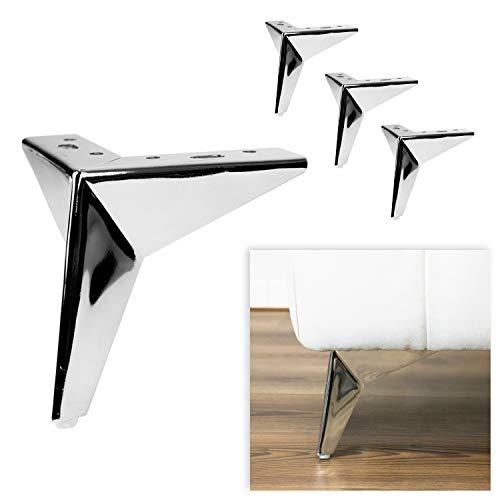 P17 | Stardust | Juego de 4 patas de metal y 16 tornillos | cromo pulido | Altura 13 cm | Patas para sofás y sillones