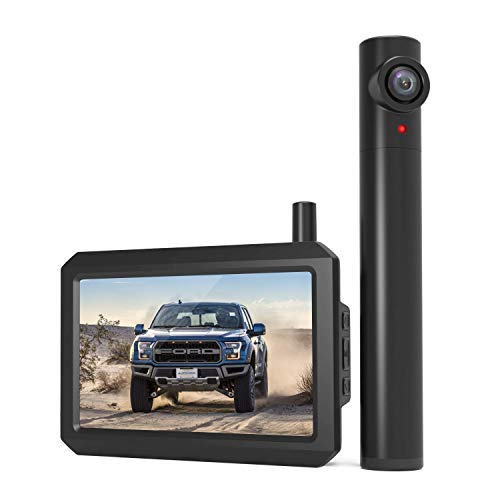 AUTO-VOX TW1 Truly Wireless Backup camera, 5Mins DIY Installation, 720P Super Night Vision Rear View Camera and 5'' LCD Monitor with Digital Signal, 2 Channel Support to Monitor/Reverse for Trucks/Car
