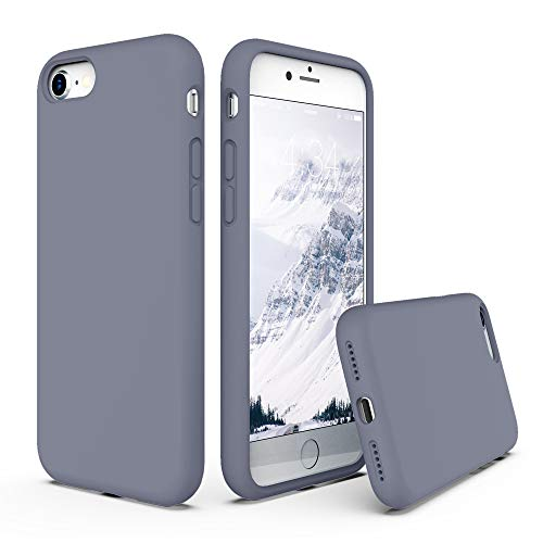 "SURPHY Silicone Case Compatible with iPhone SE 2020 Case iPhone 8 Case iPhone 7 Case, Liquid Silicone Phone Case (with Microfiber Lining) for iPhone 7 iPhone 8 iPhone SE 2nd 4.7"" (Lavender Gray)"