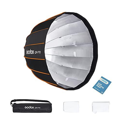 Godox QR-P70 70cm Softbox Fotografico Parabolico Profondo Adatto per Bowens Mount Flash da Studio SL-60W VL150 VL300 UL150 SL150WII SZ150R SK300ii SK400ii