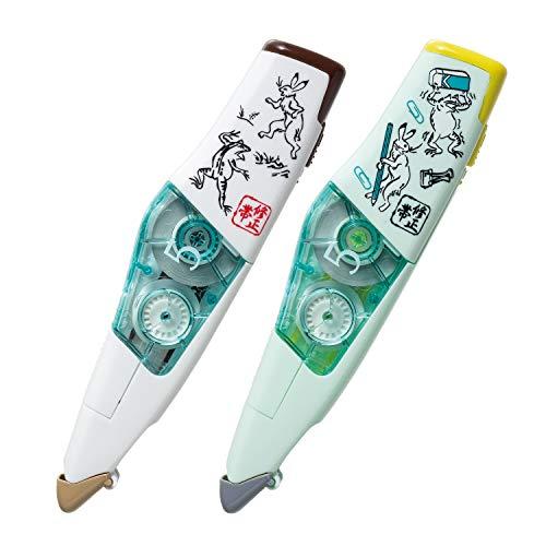 プラス 修正テープ ホワイパーPT 5mm 限定鳥獣戯画デザイン 鬼事+文具 2個set WH-645-C/51-714+51-715