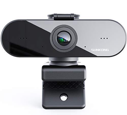 Sunkong 1080P Webcam mit Mikrofon, Datenschutz, Klarer Stereo-Sound, Belichtungskorrektur, USB-Anschluss, PC Kamera für Videochat und Aufnahme, kompatibel mit Windows, Mac und Android