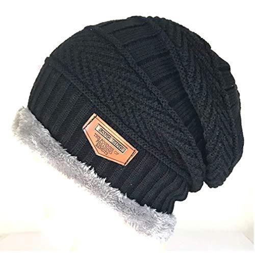 Sombrero de Hombre Sombrero de Lana de Punto Invierno más Terciopelo Cubierta cálida Gorra de Exterior para Hombre Negro cálido