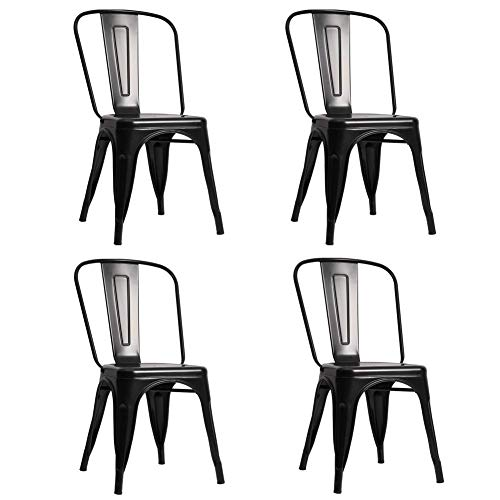 AMYZ Metal Dining Chairs Set of 4,Vintage Industrial Stackable Kitchen Chairs for Home Restaurant Cafe Bar Patio Indoor-Outdoor,Black