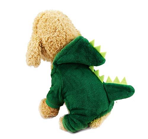 LLKK Ropa para mascotas engrosada divertida ropa para perros de invierno clido para perros pequeos, medianos y pequeos, cachorros, XS-XXL #v (color: GreenDinosaur, tamao: S)