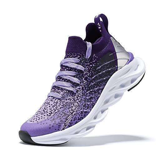 Boys Sneakers Kids Running Shoes Girls Mesh Fitness Shoe Indoor Training Sneaker Lightweight Outdoor Sports Athletic Tennis Shoes for Little Kid/Big Kid Purple 3