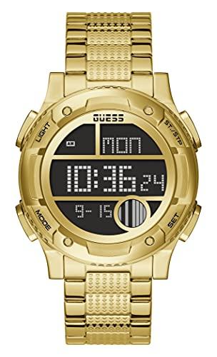 GUESS Reloj de cuarzo para hombre con correa de acero inoxidable, dorado, 22 (Modelo: GW0271G2)