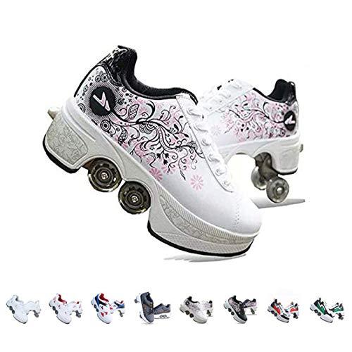 Rollschuhe Damen/Mädchen/Kinder,Skateboards Schuhe Mit Rollen,2 In 1 Inline Skates,Verstellbare Quad Skate Rollerskates,Laufschuhe Sneakers Für Unisex,Mehrfarbig Optional,Weißdruck-36