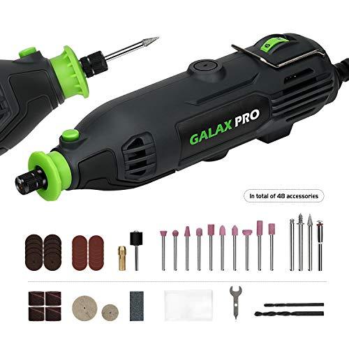 GALAX PRO Mini Amoladora Eléctrica 135W Mini Taladro -Velocidades Ajustables 8000-33000RPM, Kit de Herramientas Rotatorias Multifunción con 48 accesorios/Velocidad variable para artesanías