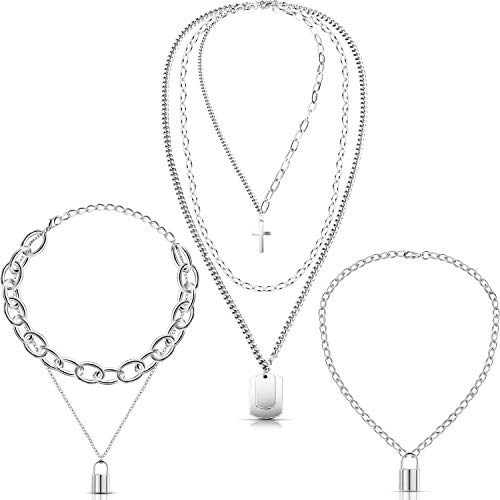 Hicarer 3 Piece Punk Chain Choker Lock Pendant Necklace Multilayer Chunky...
