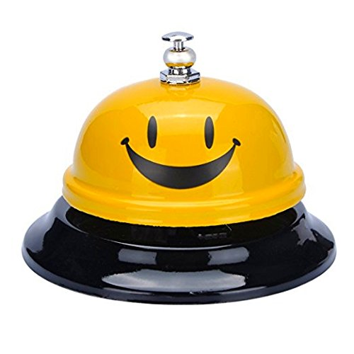 HOUSWEETY Hot Call Bell,3.38 Inch Service Bell for Kitchen Hotel Counter Reception Restaurant Bar,Happy Face,Yellow