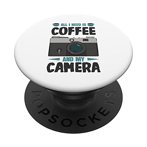 Todo lo que necesito es café y mi cámara PopSockets PopGrip Intercambiable