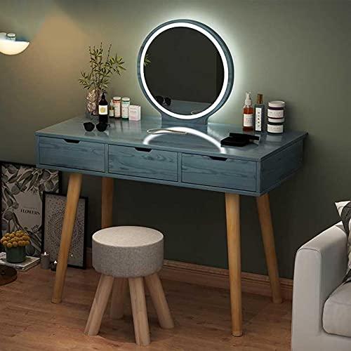 Tocador moderno para dormitorio con espejo Lde y tocador, mesa amplia y cajones de gran capacidad, para uso doméstico y estudio de fotos, azul, 1 m