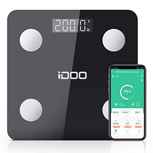 Smart BMI Scale iDOO Bluetooth Body Fat Scale Tracks 13 Measurements Digital Bathroom Weight Scale with Baby Mode Body Analyzer for Weight Body Fat Muscle Mass BMI Water 396lbs