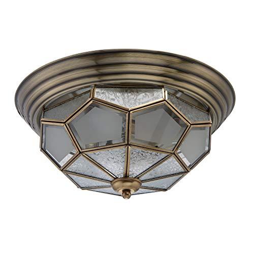 Chiaro 397010403 Antike Deckenlampe 3 Flammig Tiffany Klassisch Messing Flur