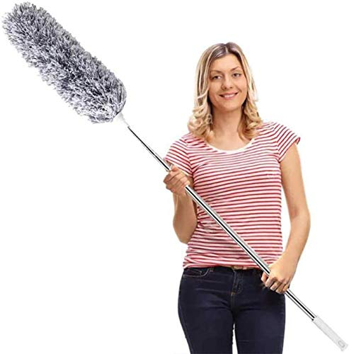 DELUX Microfiber Feather Duster Extendable Cobweb Duster with 100 inches Extra Long Pole, Bendable Head & Scratch-Resistant Hat for Cleaning Ceiling Fan, High Ceiling, Blinds, Furniture & Cars