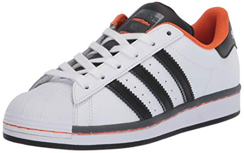 adidas Originals Kids' Superstar Sneaker, White/Black/Orange, 5.5