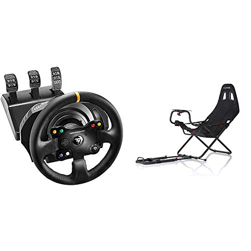 ThrustMaster TX Racing Wheel Leather Edition - Volante - XboxOne/PC -Force Feedback - 3 Pedales - Licencia Oficial Xbox + Playseats Challenge - Silla de Juego para PS 2, PS 3, Xbox, Xbox 360, Wii