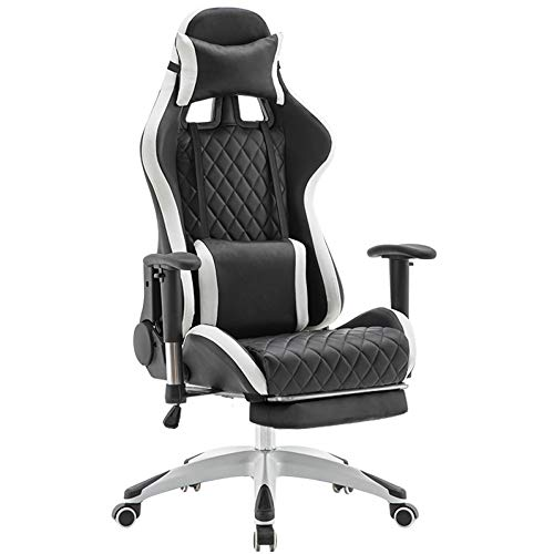 XLLLL Gamer Chair,Reclining High Back Video Gaming Chair,Ergonomic Racing Style Office Computer Desk Chair With Headrest And Lumbar Support,Max Weight Of 150 Kg,Black+White-with+Footrest