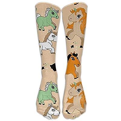 Hunter qiang Los divertidos calcetines largos atléticos de la caricatura-unicornio para mujer de 50 cm de largo.