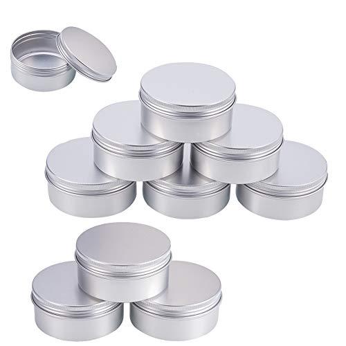 BENECREAT 10 Pack 150ml Lata de Aluminio Caja de Aluminio Redondas con Tapa de Rosca Contenedores Metálicos - Ideal para Almacenar Especias, Piezas Metálicas, Herbas o Dulce (Platino)