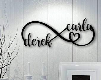 Rea66de Infinity Sign con Nombres, Arte de Madera para Pared, Letrero de Madera Personalizado, símbolo de Infinito de Madera con Corazones, letreros de Madera para decoración Personalizada de Pared