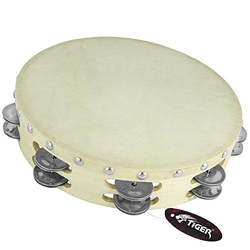 Tiger Ten Inch Double Row Wood Tambourine