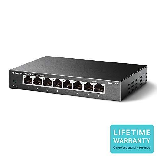 TP-Link TL-SG108S 8-Port Desktop Gigabit Ethernet Switch, Steel Case, Lifetime Warranty