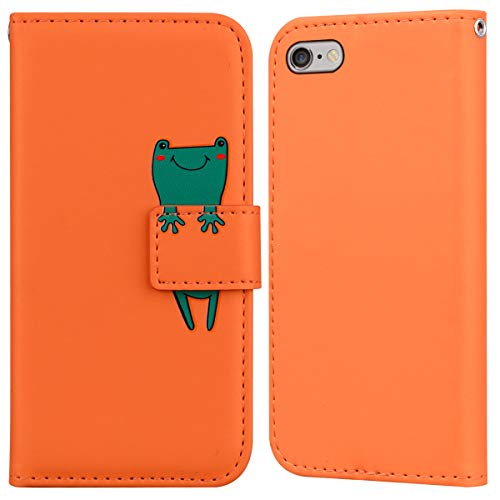 LUCASI Funda iPhone 6S,Funda Carcasa Divertido Dibujo Animados iPhone 6,Ranura para Tarjeta,Soporte Plegable, Cierre Magnético,para iPhone 6/6S-Naranja