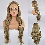 Pelucas de encaje frontal rubio ceniza para mujeres, pelucas sintéticas onduladas naturales sin pegamento, rubias largas para mujeres, 22 pulgadas, resistente al calor