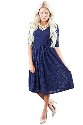 """Emmy"" Modest Dress in Navy Blue Lace"