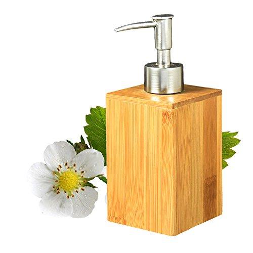 Dispensador de Jabón Dispensador de jabón líquido tipo prensa de para Baño o Cocina Bambú 17x7x7cm