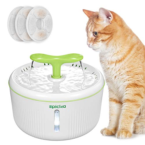 EPICKA Sprout Pet Fountain, 2L/67oz Cat Water Fountain with LED Indicator, Quiet Pump and 3 Triple-Action