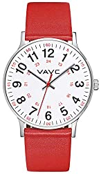 VAVC Nurse Watch for Medical Students, Doctors,Women with Second Hand and 24 Hour. Easy to Read Watch - one of the best watches for doctors. It is also womens analog watch with large numbers - best women nursing watches with legible dials