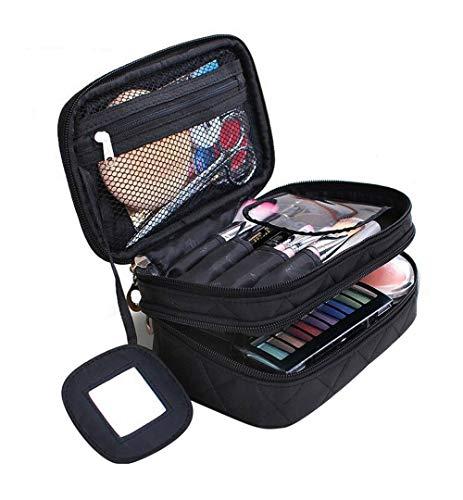 Kosmetiktasche, ONEGenug MakeUp Tasche, Schminktasche Kosmetikbeutel 20 * 12 * 8 cm Doppelschicht mit Spiegel für Damen schwarz