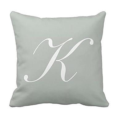 Zazzle Letter K Silver Gray Monogram Pillow 16  x 16
