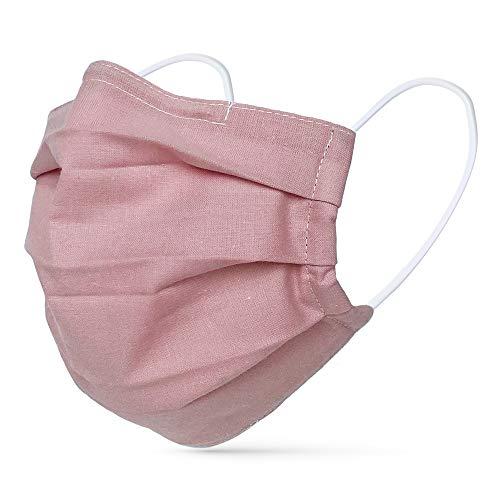 tanzmuster ® Gesichtsmaske für Erwachsene - Stoffmaske mit Nasenbügel und Filtertasche - Alltagsmaske waschbar - 100% Baumwolle OEKO-TEX Standard 100. Hauchdünn 03-Rosa M/L