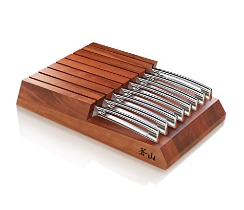 cangshan N1serie 59496alemán acero forjado sólido bloque de madera de acacia–Juego de cuchillos de carne con cuchilla, 12,7cm)