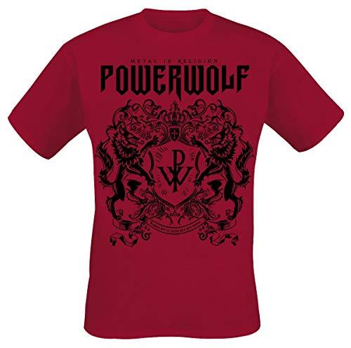 Powerwolf Crest Red Männer T-Shirt rot M 100% Baumwolle Band-Merch, Bands