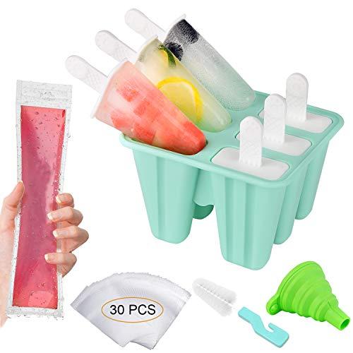 Morfone Eisformen,6 Silikon Popsicle Formen Set,DIY hausgemachte kreative EIS, Eisform mit 30 Einweg-Eisformen, 1 Silikontrichter und 1 Reinigungsbürste 【BPA-Frei】【LFGB Geprüft】