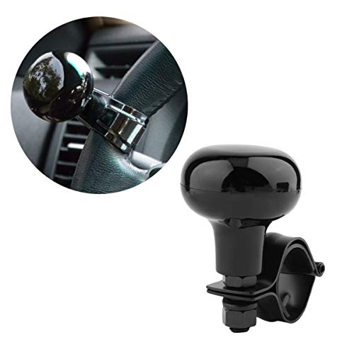 BLACK CAR VAN LEATHER STEERING WHEEL KNOB SPINNER HANDLE MOBILITY TURNING AID 36