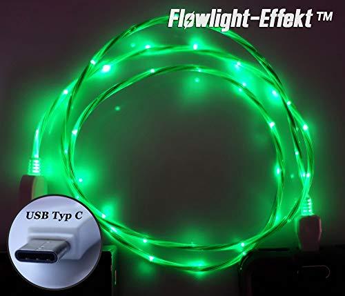 LifeShift Ladekabel Datenkabel Leuchtend fließende LED Optik USB Typ C für Android Smartphones und Tablets USB-C 1m (grün)
