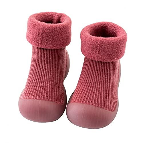 Zapatos de punto para bebé de 6 a 12 meses, para niñas, zapatos para aprender a andar, calcetines de suelo blandos, antideslizantes, para niños, Vino, 26